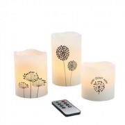 Bougies LED en cire par 3