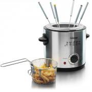 Friteuse et fondue 2 en 1 en inox capacité 1L
